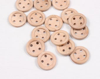 6 buttons 25 mm, wood, 4 holes (1051 am)