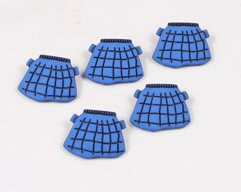 "5 buttons ""Plaid skirt"" 30x36mm nylon Shank (8242 am)"