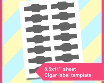 """Instant Download Cigar wrapper Template, PSD, PNG and SVG Formats,  8.5x11"""" sheet,  Printable 206"""