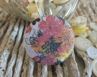 x 1 cabochon 28mm bouquet flowers 1 BOUT10 fabric