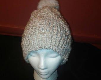 Handmade Faux Fur Pompom hat