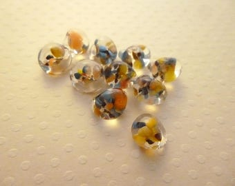 Set of 10 Tropical 10mm - 0708 PVG glass Lampwork drops