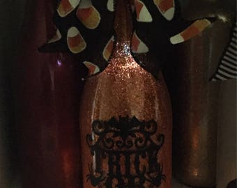 Trick or Treat Halloween Orange Recycled, Upcycled, Repurposed Wine Bottle Lamp Light
