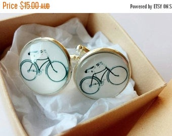 ON SALE Bicycle Glass Cufflinks - Made to order - Gift Ideas