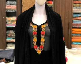 Aari Work Fused with Cut Daana Work Kashmiri Suit, Women, Indian Ethnic Wear, Black Georgette Salwar Suit, Designer Suit, Traditional Outfit