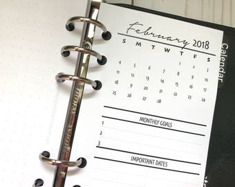 Monthly Highlights Dated Printed Planner Inserts | Personal Size | Month on One Page | Bold