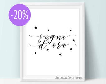 SALE Typography poster, Italian quote prints, minimalist nursery decor, Black and white art, Sweet dreams, quote printable poster  #0052