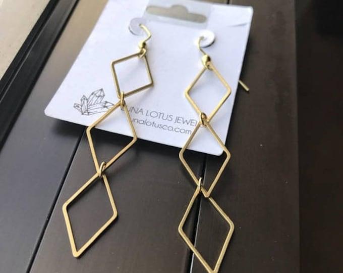 CLEARANCE SALE Diamond Drops Geometric Earrings