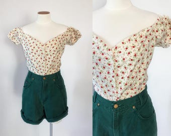 1990s cream and red rose print off shoulder cropped peasant blouse / 90s crop top / extra large L XL