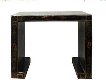Sales Chinese Black Lacquer Oriental People Scenery Table Stand cs2862S