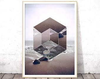 Hexagon Art Print, Abstract Coastal Art, Coastal Wall Art, Hexagon Wall Print, Modern Geometric Wall Art, Seascape Beach Decor, Wall Decor