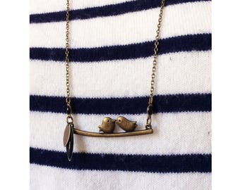 "YZIE ▷ birdie Necklace: ""bird-Kiss"" bronze & Black enamel."