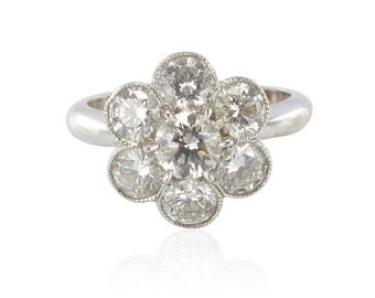 Daisy ring diamonds white gold