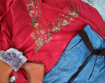 Gorgeous Vintage Beaded Indian Long sleeve blouse