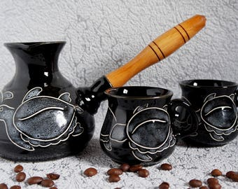 Sea gifts Mommy gifts aunt Coffee set sea Turtle Turkish coffee pot ceramic cezve Wife gift for brother gift Father gift Housewarming gift