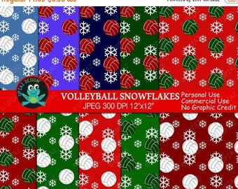 75% OFF SALE Volleyball Digital Paper, Commercial Use, Volleyball Holiday Papers,  Scrapbook Papers, Background - UZ617