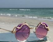 Artisan Purple ROUND Womens Sunglasses, Hippie Bohemian Festival Eyewear Sunglasses, Spunglasses, Retro Hippie Boho Mod Sunglasses NEW