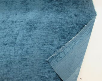 "Dark Teal/Turquoise Chenille ""Eaton"" Fire Resistant Heavy Upholstery Fabric. Price Per Metre."