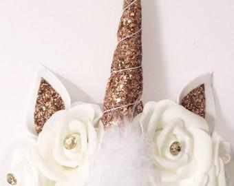 Rose gold Unicorn horn headband