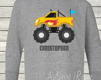 Boys Monster Truck Monogrammed Personalized Customized Birthday Shirt