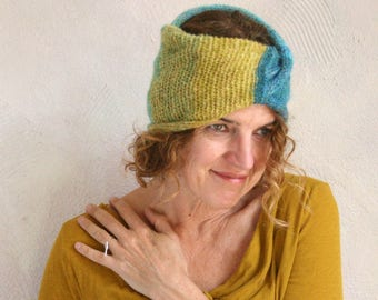 Neck wrap, headband kid mohair and silk custom knit in any colors