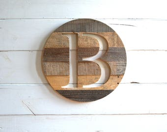 Round Pallet Wood Monogrammed Wall Art Sign Various Sizes Pallet Wood  Personlized Large Wall Hanging Monogram