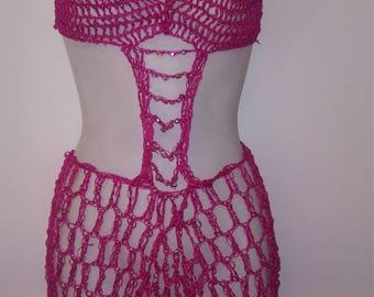 Sexy handmade pink crochet lingerie dress
