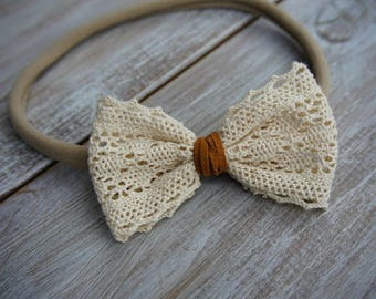 Nylon Lace Bow Headband