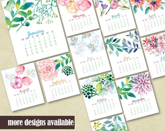 Printable Wall 2018 Calendar With Hand Painted Watercolor Flowers Housewarming Floral Calendar Printable Office Calendar Instant Download