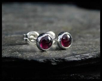 January birthstone earrings - Natural pink garnet gemstone cabochon, 5mm,  sterling silver bezel, second earrings, 230