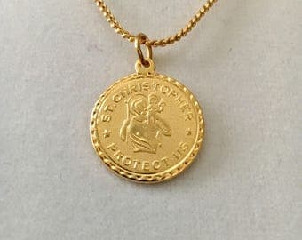 "Vintage Saint Christopher medallion, St Christopher Protect Us medal, religious medallion, 3/4"" gold plated pendant with an 18"" snake chain"