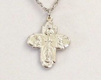 "Vintage Italian five way cross, religious cross, Miraculous Medal cross, rhodium plated cross, 1 3/16"" lg medallion"
