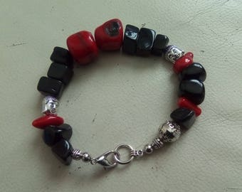 Large obsidian and coral with Tibetan silver bracelet