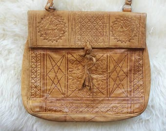 Sunset in Morocco~Vintage 60s/70s Hippie Bag in Tooled Leather Made in Morocco. Hippie Bohemian Festival Style