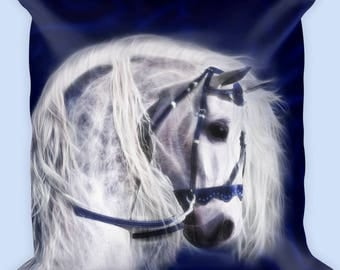 White Andalusian Horse Pillow-Horse Lover Pillow-Square Horse Pillow