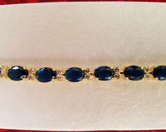 BR109 Vintage 6.75 Inch Sapphire and White Topaz Bracelet