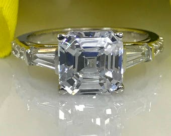 Moissanite Asscher Cut Engagement Wedding Anniversary Ring With Baguettes And Diamonds 2 50ctw In 14k White