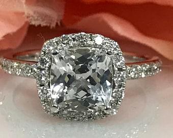 Cushion Cut White Sapphire With Diamond Halo Engagement Wedding Anniversary Ring 14K White Gold #5200