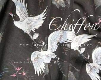 Japanese Crane Black chiffon by the yard polyester chiffon