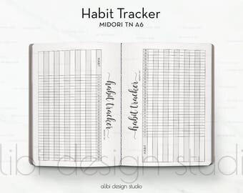 A6 TN, Habit Tracker, Midori TN A6, Traveler's Notebook, Midori Inserts, A6, Habit Tracker Printable, Travelers Notebook A6, Goal Tracker