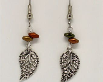 Autumn colored Leaf earrings