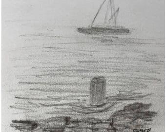 Segeln im Nebel, Kohlezeichnung auf Papier, 8x8 cm, maritime Kunst