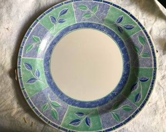 Set of 4 Brand New Churchill Made in England Dinner Plates Blue Green Tableware