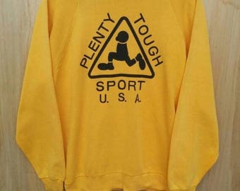 Vintage Plenty Tough Sport Yellow Sweatshirt Sz Large Made In Usa Big Logo Spell Out Rare