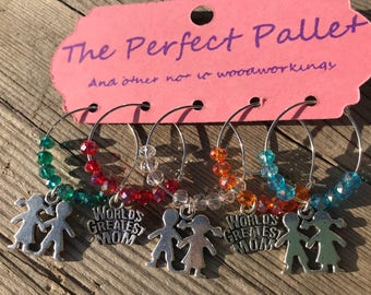Worlds greatest Mom wine charms