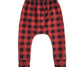 red plaid pants, buffalo plaid pants, baby pants, toddler pants, black and red pants, modern pants, trendy harem pants, geo print pants