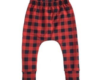 red plaid pants, buffalo plaid pants, baby pants, toddler pants, black and red pants, modern pants, trendy harem pants, geo print pants