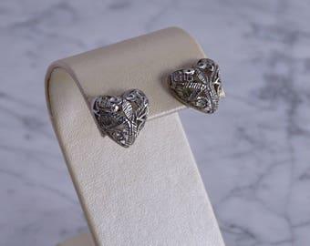 Small Filigree Heart Earrings (pierced)
