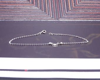 """Sterling Anklet with Butterfly (9"""")"""