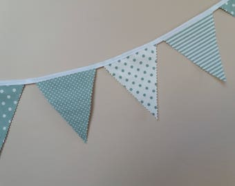 Party Garland (16 Flags) - Bunting Garland - Garland Banner - Bunting Flags - Cotton Garland Handmade Fabric Bunting - Pretty green  Baby